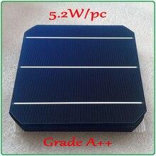 5.2W A++ 156mm monocrystalline Mono solar cell 6×6 +enough PV Ribbon (50m Tab Wire+5m Busbar Wire) DIY 260w PV Mono Solar Panel