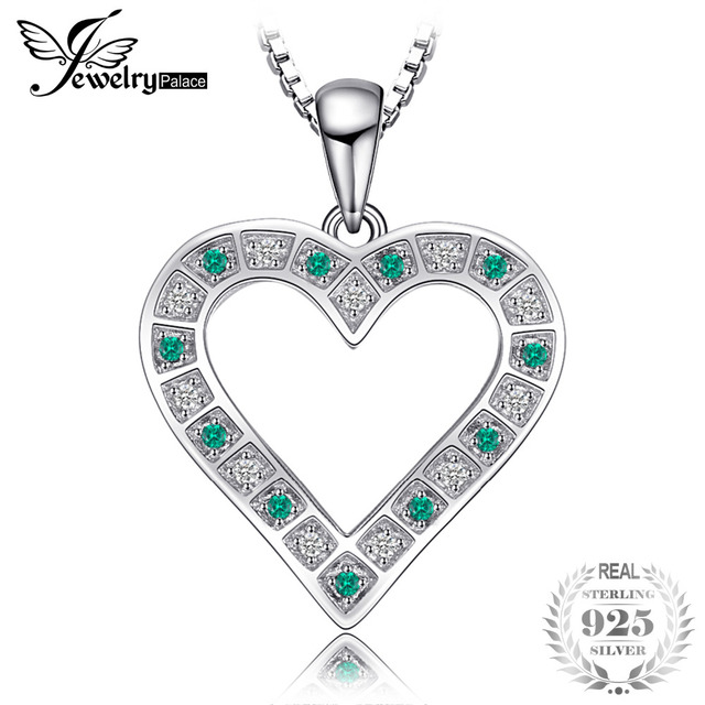 Jewelrypalace high quality created emeralds heart necklaces pendants jewelrypalace high quality created emeralds heart necklaces pendants 925 sterling silver 45cm box chain for women aloadofball