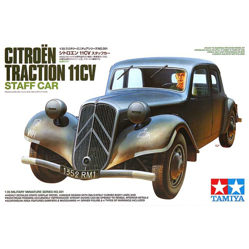 OHS Tamiya 35301 1/35 Traction 11CV Military Staff Car Assembly AFV Model Building Kits oh tobyfancy tamiya 1 35 ww2 german steyr type 1500a 01 military miniature ready to assembly model kit