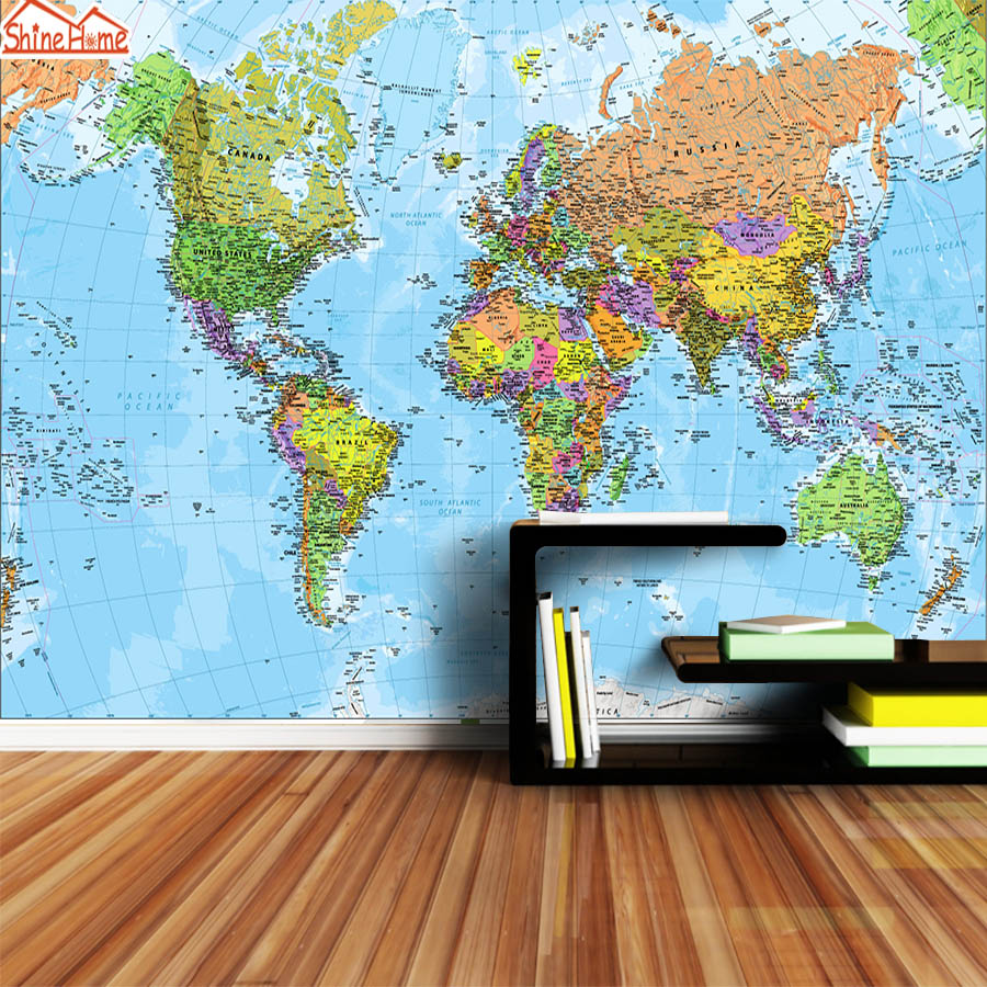 ShineHome-Modern Custom 3D Photo World Map Wallpaper for 3 d Living Room Wall Paper Wallpapers Painting Sofa TV Bar Background free shipping flooring custom living room self adhesive photo wallpaper wonderland lotus pool 3d floor thickened painting flower