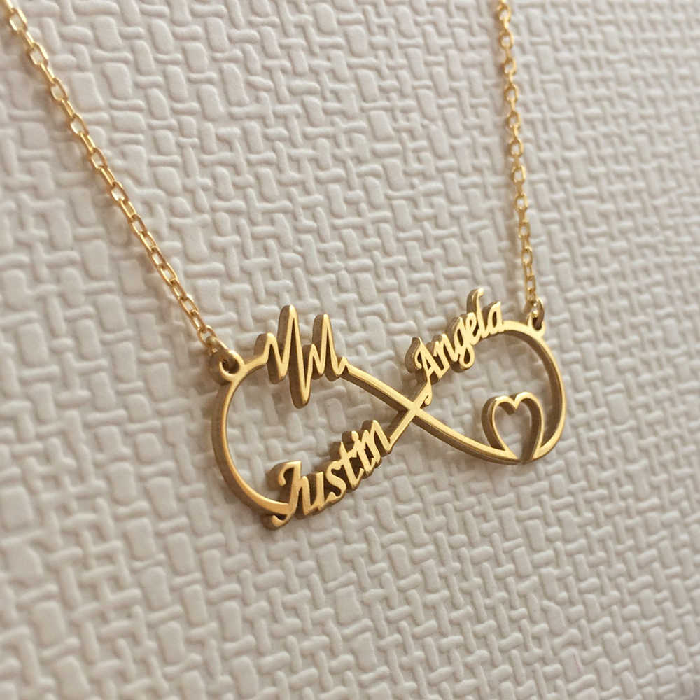 Custom Name Necklace Personalized Boho Infinity Heart Double Nameplate Pendant Necklaces For Women Colar Stainless Steel Jewelry