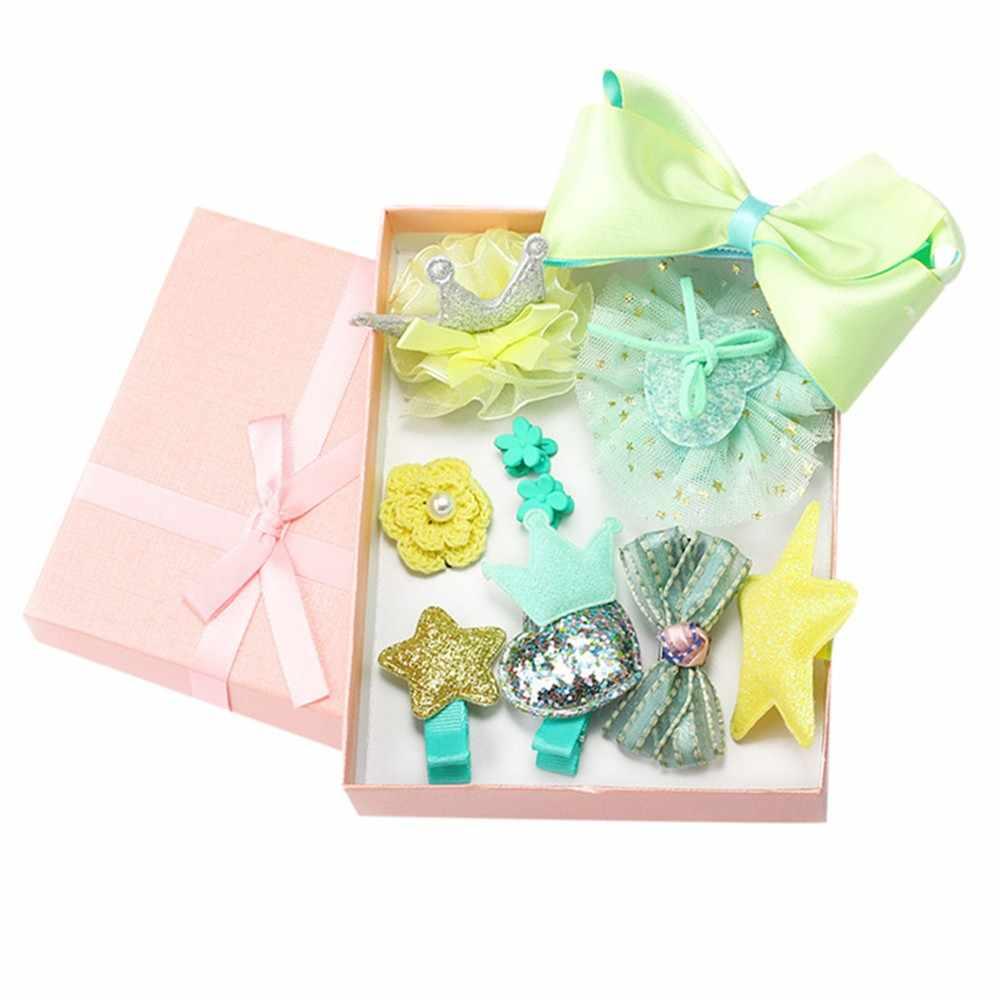 10 шт. Детские аксессуары для девочек бутик головы зажимы для волос банты Корона принцесса поплавок подарочный набор Opaski Dla Niemowlaka Dziewczynki