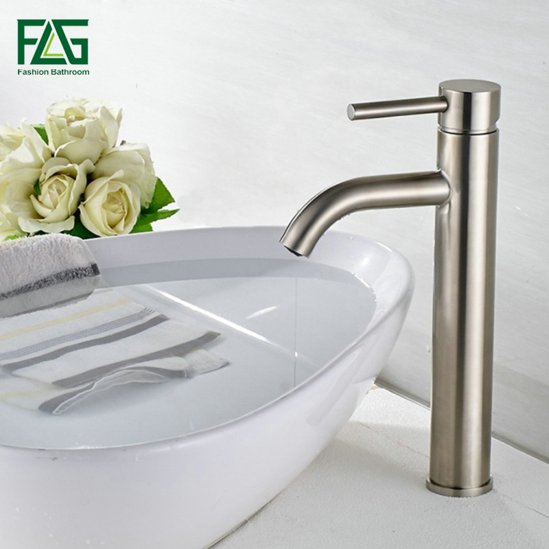 FLG Basin Faucet Ceramic Plate Spool Bathroom Faucet Brushed Nickel Deck Mounted Stainless Steel Basin Faucet Basin Mixer SS002Y