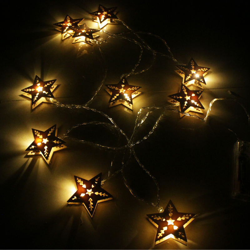25m battery led wood star fairy lights string garland christmas lights luces decorativas luminaria decoration indoor lighting in led string from lights