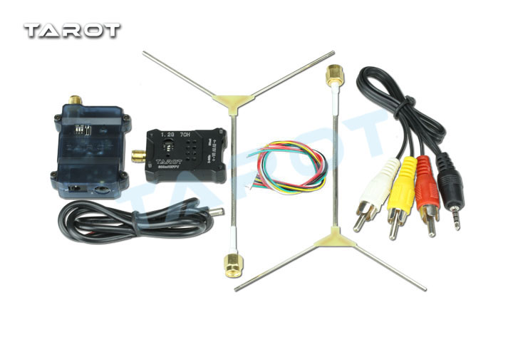 F18657 Tarot 1.2G FPV 600MW R/TX TL300N5 AV Wireless Wiring Transmitter Receiver Set 1.2G Antenna for DIY FPV Racing Drone