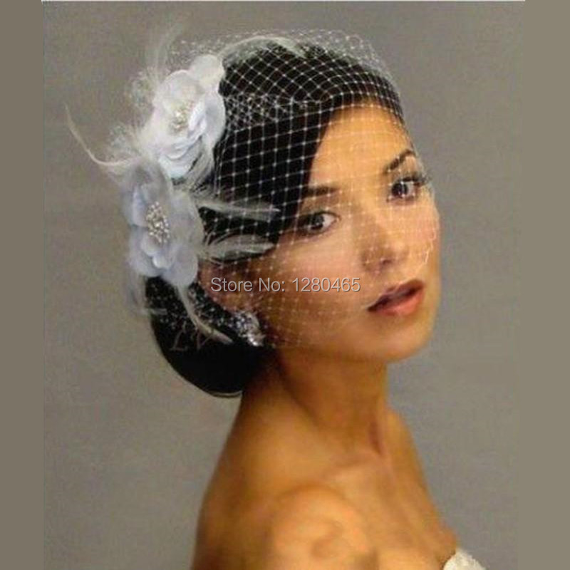 4849f4d7f52ef 2017 White Bird Cage Veil Bridal Veil Wedding Birdcage Veil Netting Face  with Feather Flower Beads Bride Hats for Women-in Bridal Veils from  Weddings ...