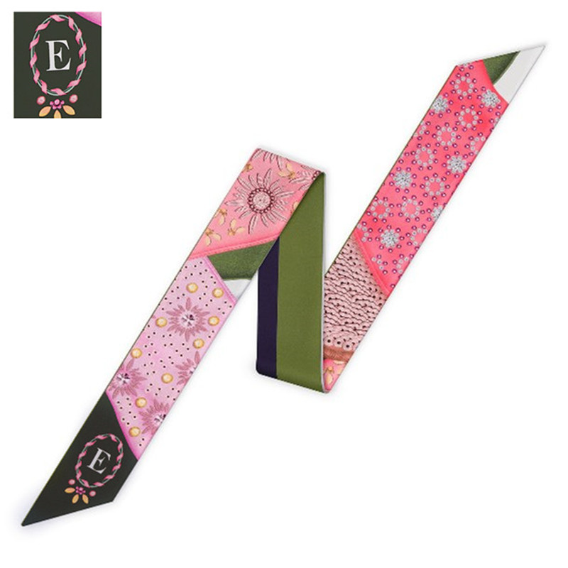 Bag Skinny   Scarf   For Women Fashion Head   Scarf   Brand Small Tie E Of 26 Letters   Scarves   Fashion Constellation Silk   Scarf     Wraps