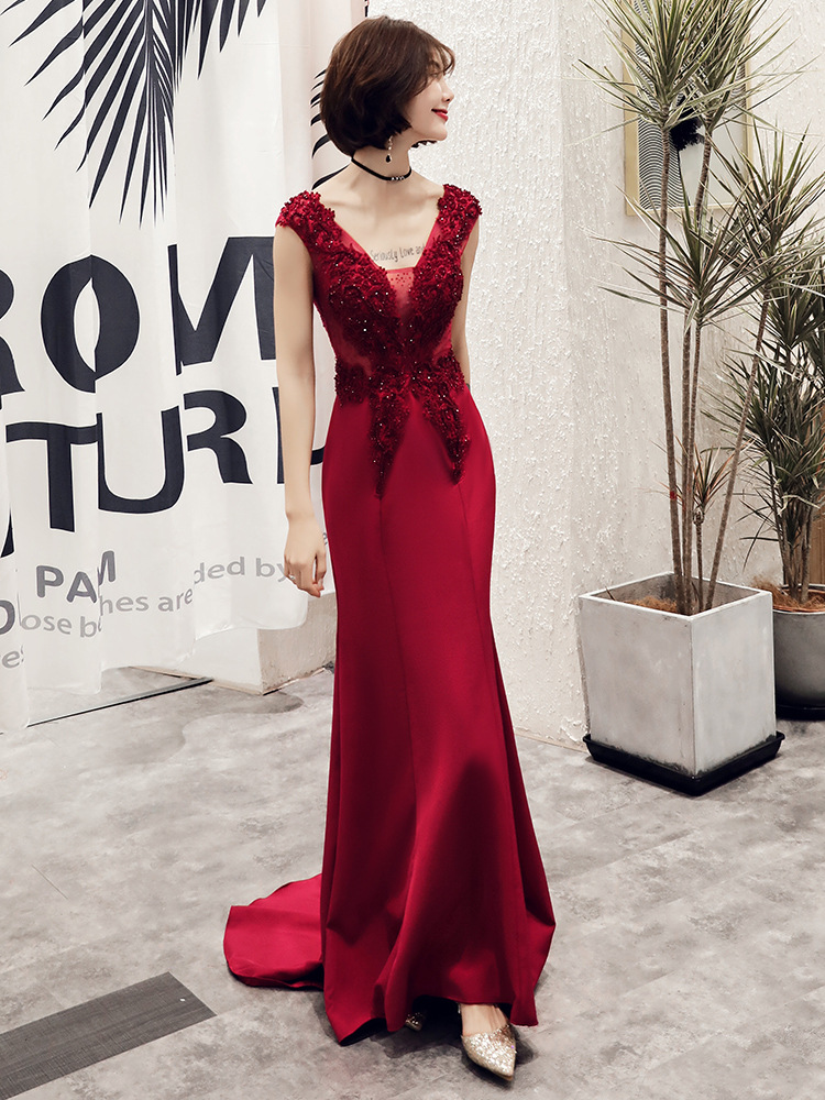 2019 New Mermaid Evening Dress Appliques Beading V-neck Sweep Train Wine Red Prom Party Dress Robe De Soiree Haute Couture