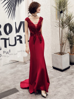 2019 New Mermaid Evening Dress Appliques Beading V neck Sweep Train Wine Red Prom Party Dress Robe De Soiree Haute Couture