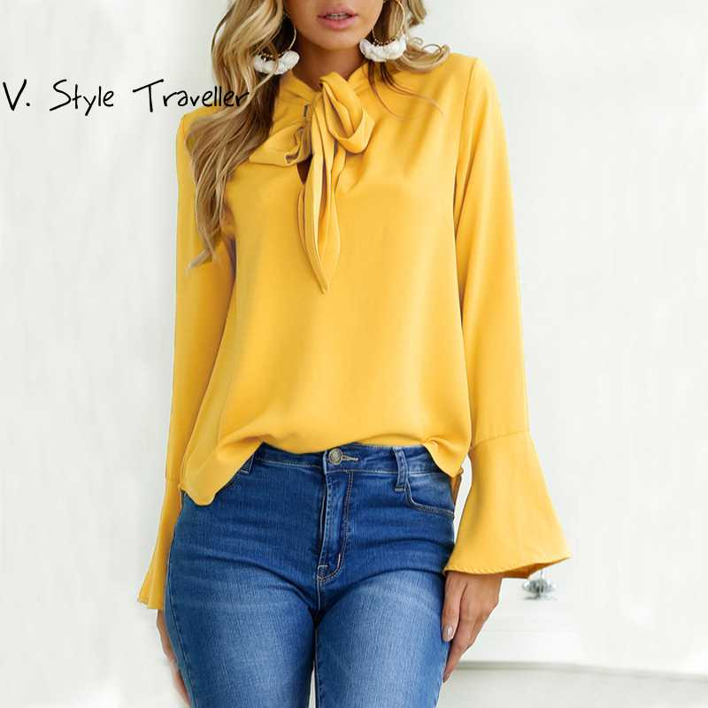 Ribbons Bow Tie Flare Long Sleeves Blouse Women Casual -3288
