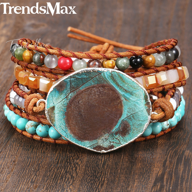 Womens Beaded Bracelets Boho Wristband Gold Filled Stone Brown White Leather Wrap Bracelet Unique Woman Jewelry Gift 8mm Kdsbm07