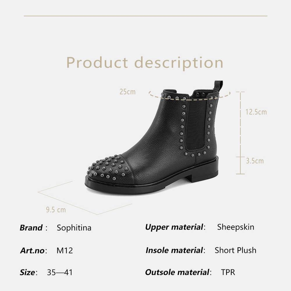 SOPHITINA Perçin Kadın Botları 2019 El Yapımı Rahat Yuvarlak Ayak Chelsea Çizmeler Yüksek Kalite Düşük Kare Topuklu moda ayakkabılar M12