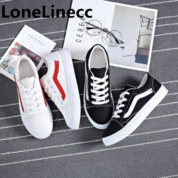 2018 Brand mens shoes casual Spring Summer Male Flat Canvas Shoes Mens new white shoes Low top Male Black Red Mens Casual Shoes