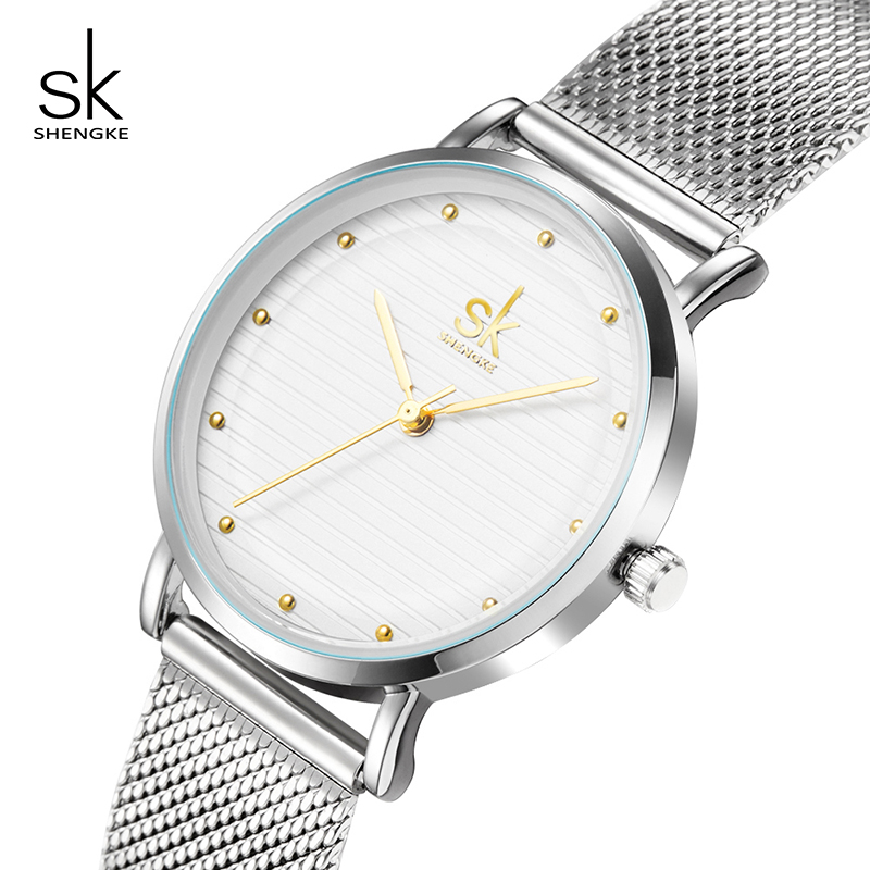 Shengke Luxury Quartz Women Watches Stainless Steel Ladies Wrist Watch Reloj Mujer 2019 SK Cheap Fashion Watches For Women