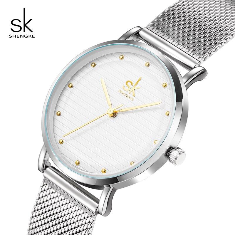 Shengke Luxury Fashion Women Creative Style Watches Brand Crystal Bracelet Watch For Woman Jewelry