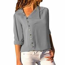 Women Tops and Blouses Solid Long Sleeve Button Skew Collar Irregular Blouse Ladies Top Blouse Shirt Blusas Plus Size S-3XL недорого