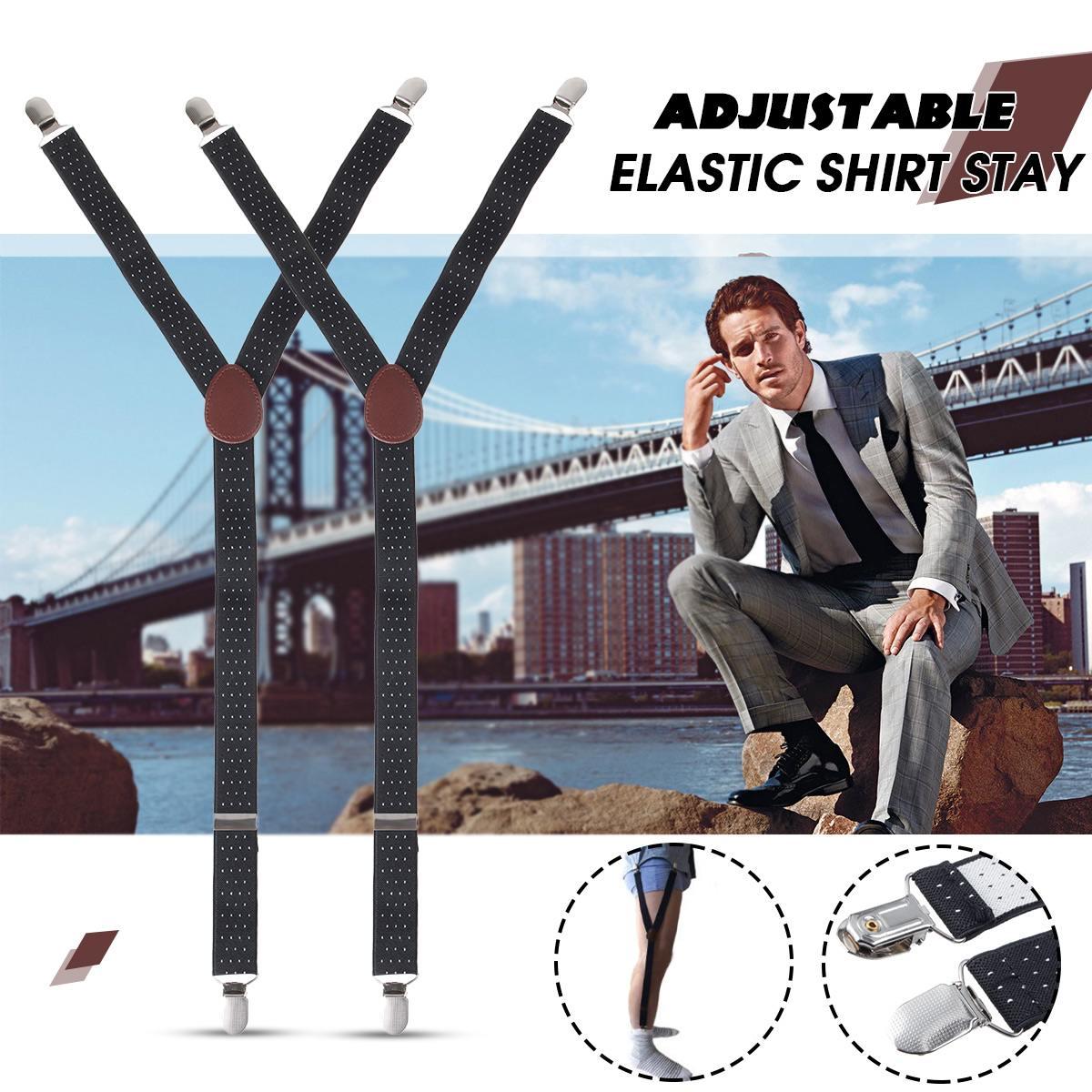 Pair Y-Style Shirt Stays Adjustable Elastic Garters Strap Non-slip Clamps Y-Shape Suspenders For Men Women