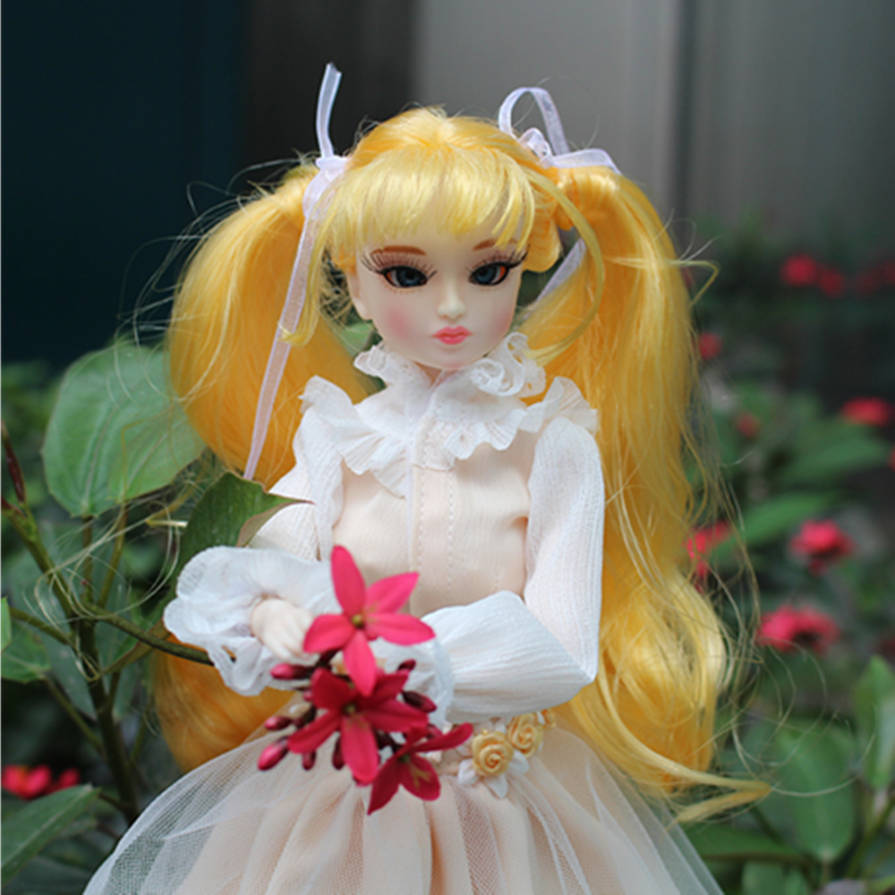 MM Girl ICY blyth doll fortune days princess xiaojing yellow wavy hair skirt shoes stocking stand box souvenir gift toy 30cm 1/6 yellow days montreal