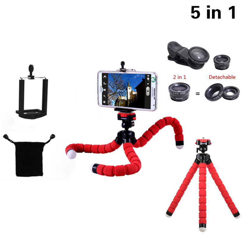 2017 5in1 Phone Camera Lentes Kit Clips 3in1 Fish Eye Wide Angle Macro Lens Mini Tripod For Samsung S5 S6 S7 S7 S8 edge Note 4 5