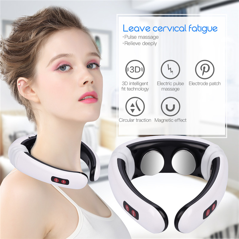 Neck Massager Cervical Vertebra Rechargable Electric Pulse Massage Physiotherapeutic Acupuncture Magnetic Therapy Toiletry Kits
