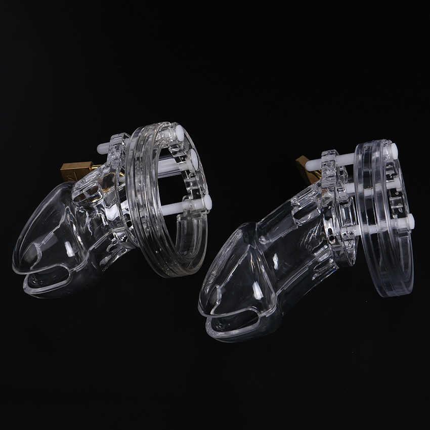 1 Set Plastik Pria Kesucian Perangkat dengan Ukuran Penis Cincin Ayam Kandang Cincin Keperawanan Kunci Sabuk Mainan Seks untuk Pria penis Lengan