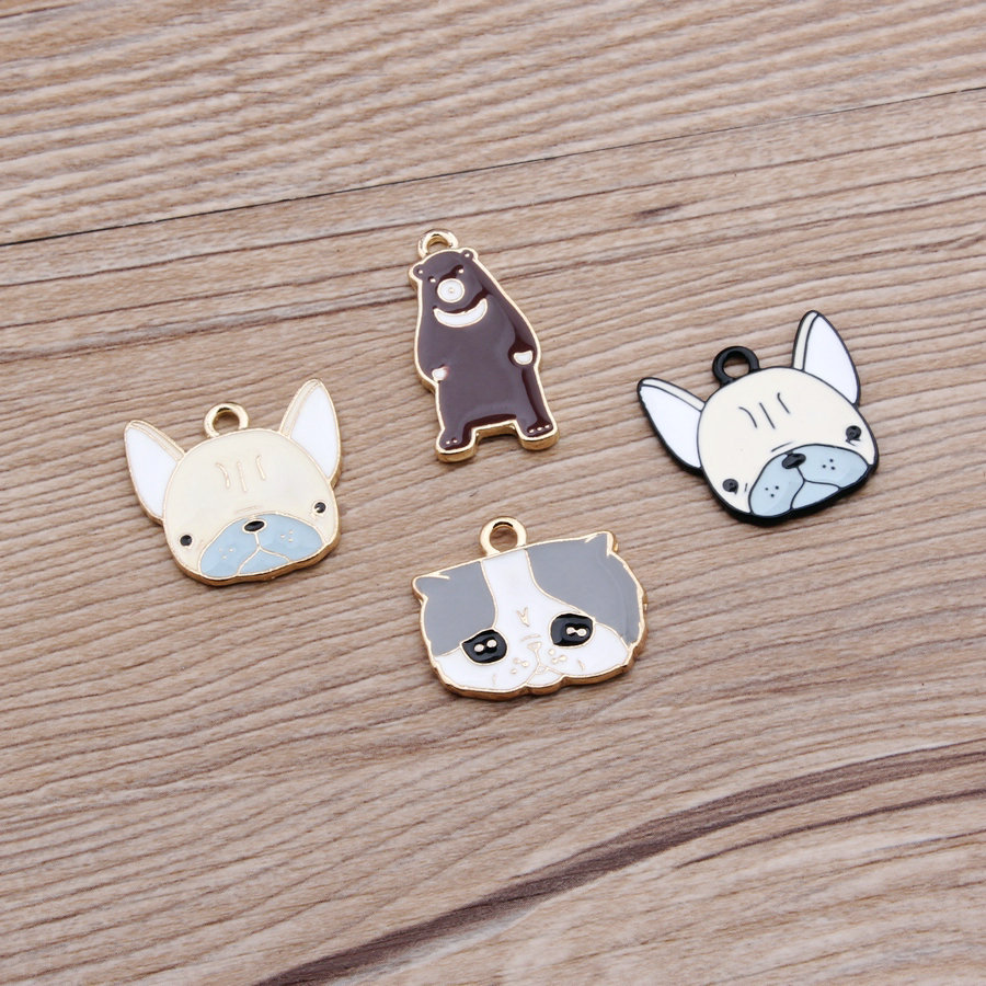 40pcs/lot Golden Dog Cat Bear face Charm, 4 Kinds Metal Charms for Bracelet/Chorker necklace wholesale