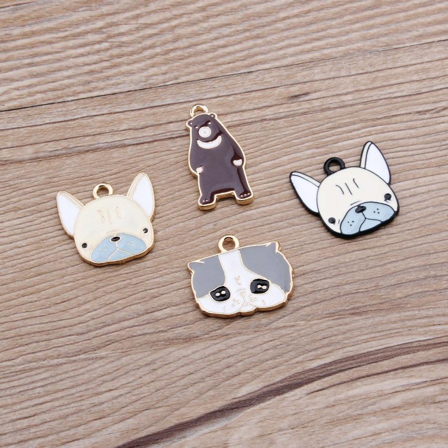 40pcs/lot Golden Dog Cat Bear face Charm, 4 Kinds Metal Charms for Bracelet/Chorker necklace wholesale