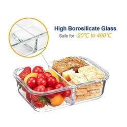 Szklane przechowywanie żywności pojemniki na żywność 2 siatki z hermetycznymi pokrywkami blokującymi BPA bezpłatne szkło podzielone pudełka na kanapki Bento Crisper w Pudełka śniadaniowe od Dom i ogród na