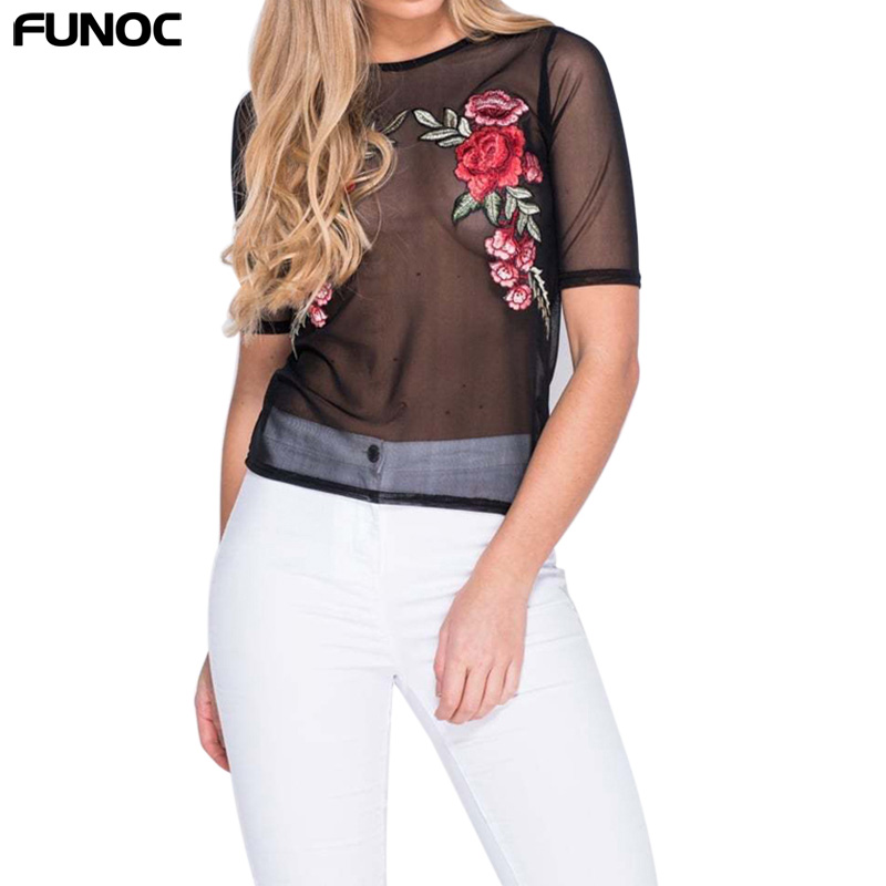 FUNOC Sexy Black Mesh Blouse Shirt Tops Embroidery Blouses