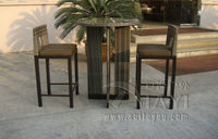 3pcs Rattan Bar Set Outdoor Garden Table And Chairs