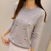 New Youth Women S Knitted Tops Autumn 2016 Winter Fashion Elegant Peach Embroidery Thick Pullovers Slim