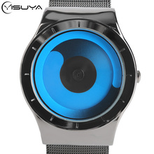 YISUYA Mens Watches Male Fashion Steel Strap Quartz Sport Wristwatch Creative Cool Blue Ocean Style Student Relogio Masculino