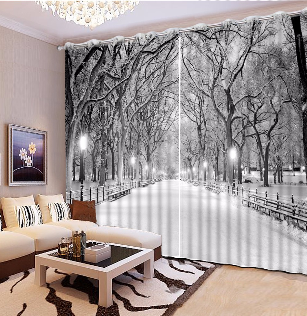 US $64.5 57% OFF|European Black and white Curtains winter snow view Living  Room Bedroom Curtains Window Wall Backdrop Curtain-in Curtains from Home &  ...