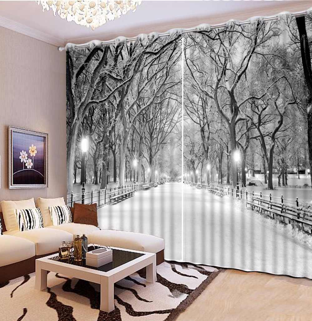 European Black and white Curtains winter snow view Living Room Bedroom  Curtains Window Wall Backdrop Curtain