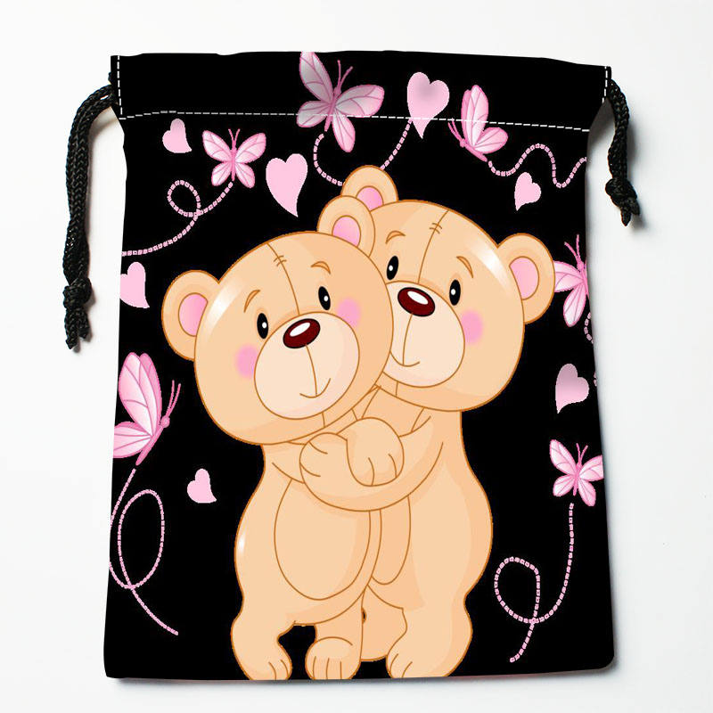 High Quality Custom Bear Printing Storage Bag Drawstring Bag Gift Satin Bags 27x35cm Compression Type Bags
