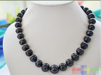 Charming REAL Tahitian Black 16mm ROUND Freshwater Cultured PEARL NECKLACE 18INCHS
