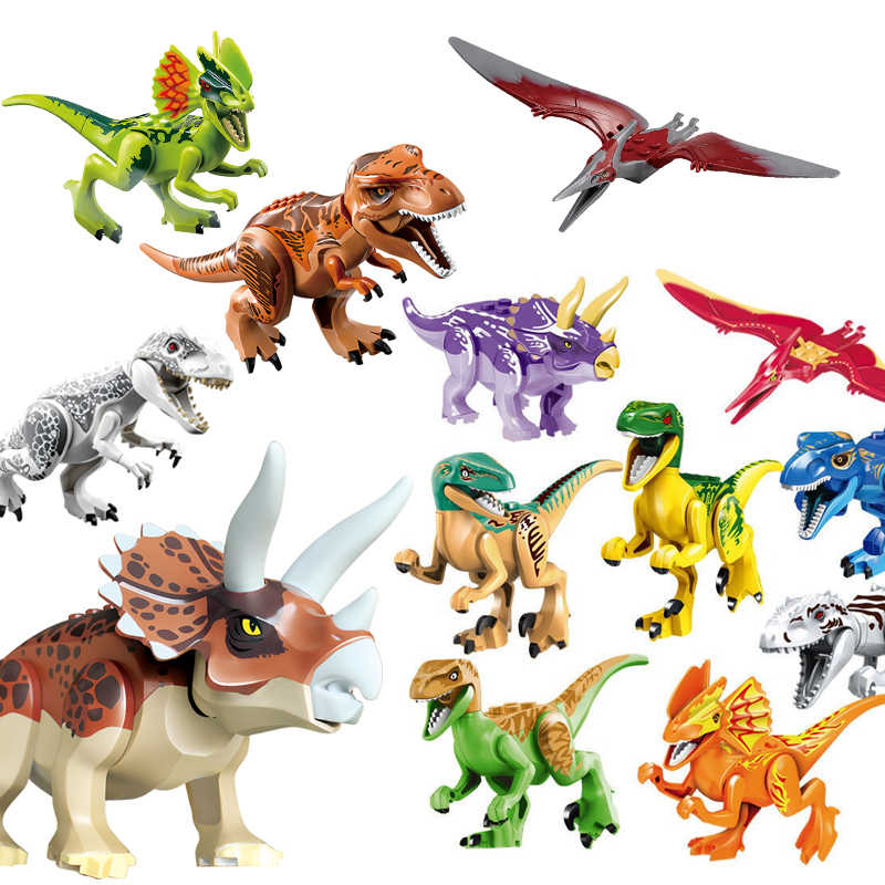 30pcs More Education Building Bricks Dino Kids Toys Compatible Legoed Blocks Dinosaurs Jurassic Park World for Children Toy Gift