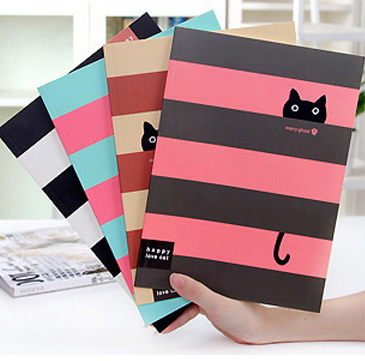 Diy Exercise Book Cover : Kawaii little cat striped print cover notebook exercise