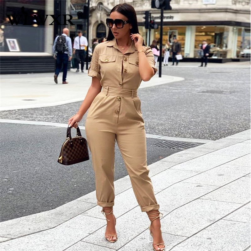 WLWXR Streetwear Summer Bodycon   Jumpsuit   Women Overall Sashes Romper Women Casual Ladies Khaki Black Skinny Sexy   Jumpsuit   Female
