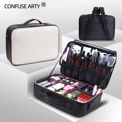 Cosmetische Box Hoge Kwaliteit Professionele Cosmetische Clapboard Case Grote Capaciteit Opslag Handtas Reizen Insert Toilettas Make-Up Tas