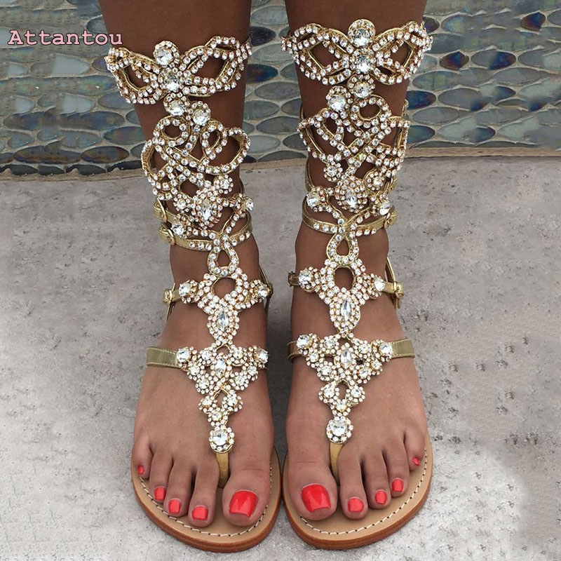 Customize Large Size Sandals Diamond Studded Summer High