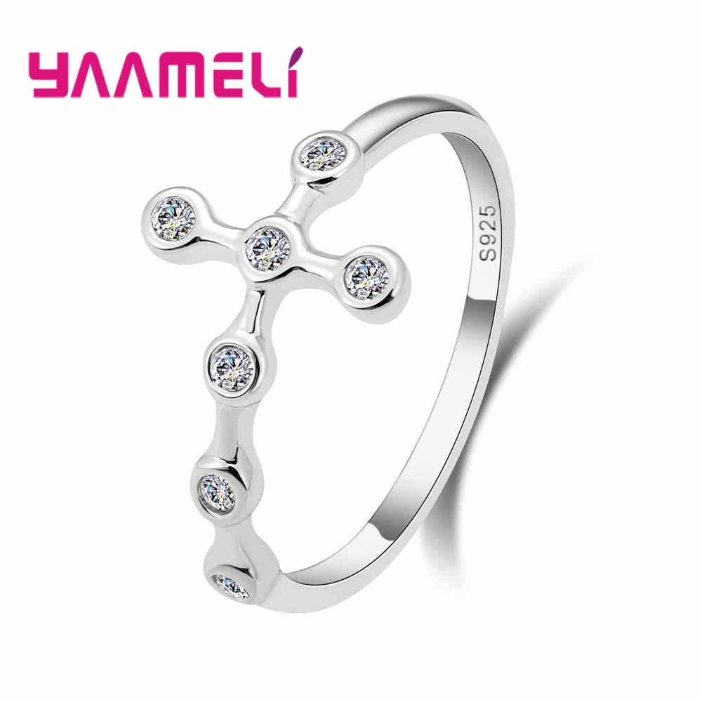 YAAMELI Cool Cross Shape 925 Sterling Silver Simple Finger Ring Women Girls Party Engagement Accessories Jewelry Wholesale