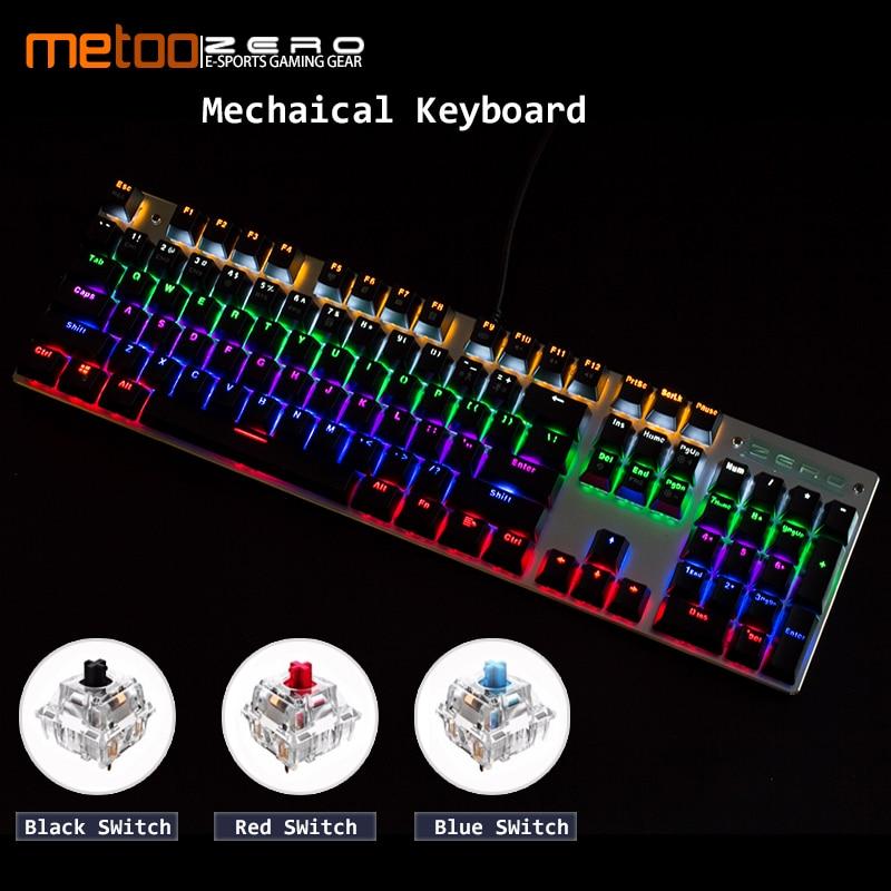 Metoo 104 Touches gaming LED Mécanique clavier Espagnol/Russe/Français/Anglais Multilingue soutien avec Rétro-Éclairage Anti- les images fantômes