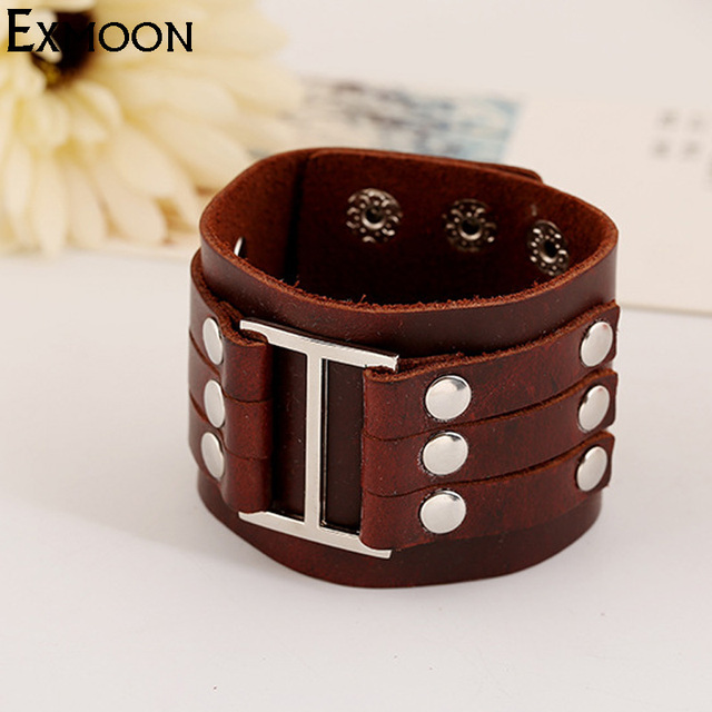 Ex Moon Top Quality Mens Vintage Wide Leather Cuff Bracelets Male Punk Brown Charm