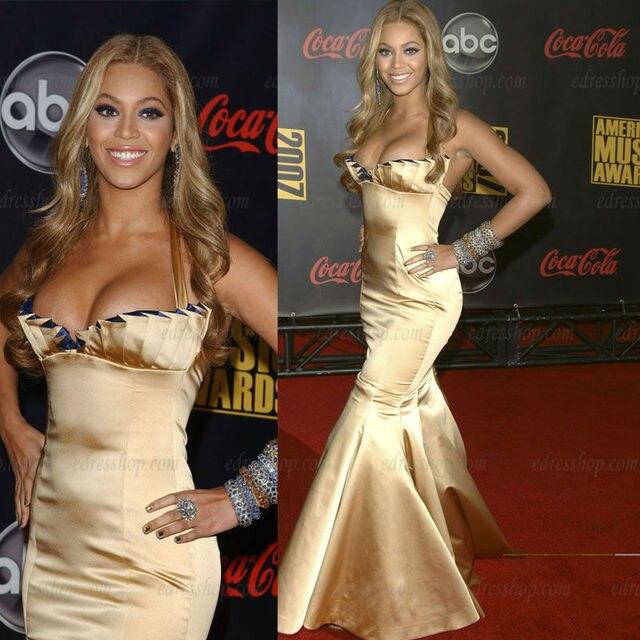 Beyonce Halter fan shaped Mermaid Sweep zug Gold prom abendkleid in ...
