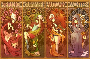 custom fabric poster (frame available) pokemon seasons spring summer autumn winter PDM759 wall decor room decor home decoration 1