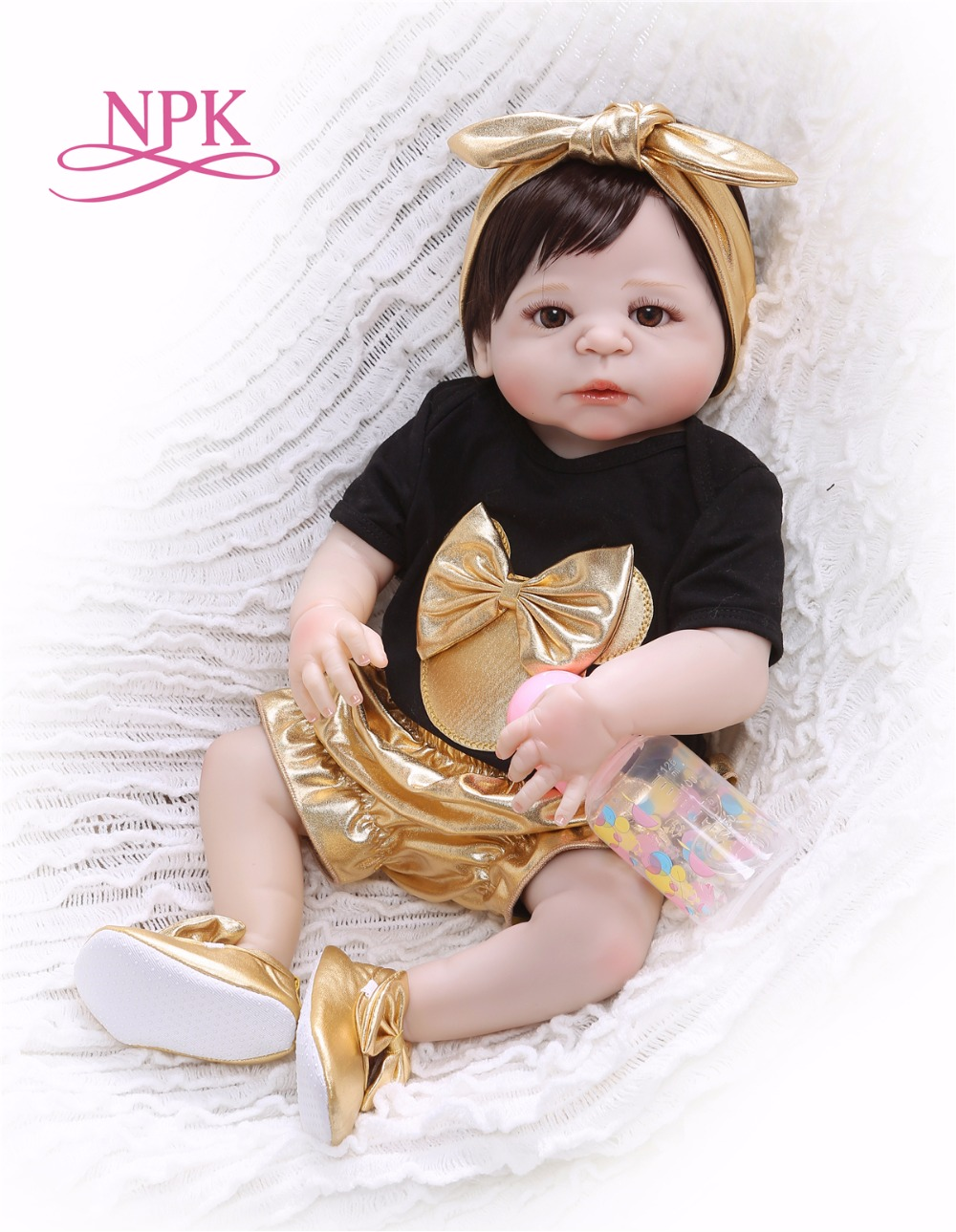 NPK 56cm Silicone Full Body bebe Doll reborn baby Real Life golden Princess Baby Doll For