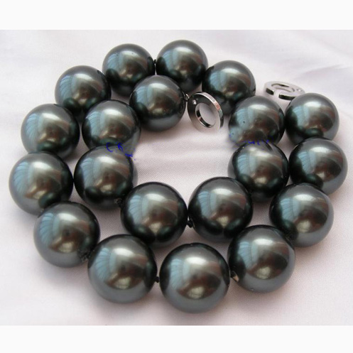 цена на New Arriver Stunning Big Size AA 20MM Round Tahiti Black Color South Sea Shell Pearl Necklace,Shell Jewellery For Women Gift