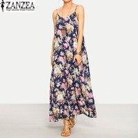 ZANZEA Boho Womens Ladies Sleeveless Strappy Sundress Floral Beach Party Casual Bohemain Maxi Long Dress 2017
