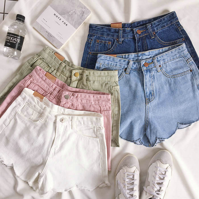 Korea Style Spring Summer Pink Sexy Shorts Wavy Edge Wear Paige Denim shorts Female Loose Thin Straight Casual High Waist Shorts